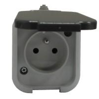 Venkovní zásuvka IP44 na omítku OPUS šedá
