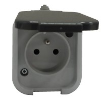 Venkovní zásuvka IP44 na omítku šedá