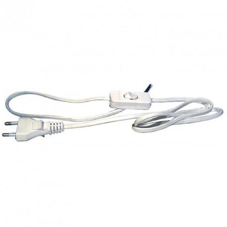 Flexo šňůra 2x0.75mm, 2m, bílá/PVC s vypínačem
