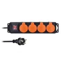 Solight prodlužovací přívod PP332, IP44, 4 zásuvky, černý, vypínač, 3m
