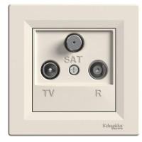 Zásuvka Asfora TV+R+SAT průběžná, krémová