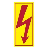 Značka výstrahy blesk blesk žlutý s rámečkem 30x56 mm samolepící