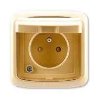 Venkovní zásuvka s víčkem IP44 TANGO 5518A-2999 D běžová ABB