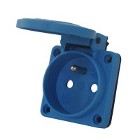 Zásuvka 230V/16A na panel IP54 s víčkem modrá