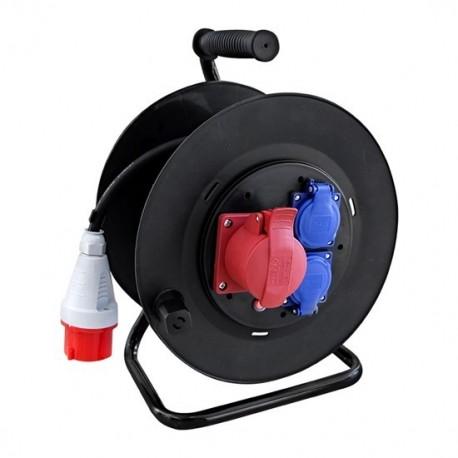 Prodlužovací přívod na bubnu, venkovní, 3 zásuvky, 400V + 2x 230V, černý, gumový kabel, 25m