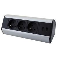 Zásuvková lišta na stůl, 3 x 230V + 2 x USB
