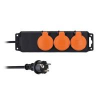 Solight prodlužovací přívod PP323, IP44, 3 zásuvky, černý, 5m