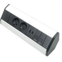 Rohová zásuvková lišta 2x 230V + 2x USB + 2x RJ45