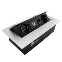 Zásuvky do pracovní desky a podlahy, 2 x 230V + USB + RJ45
