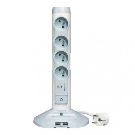 Zásuvkový sloupek na stůl 4x230V s USB nabíječkou a přepěťovou ochranou